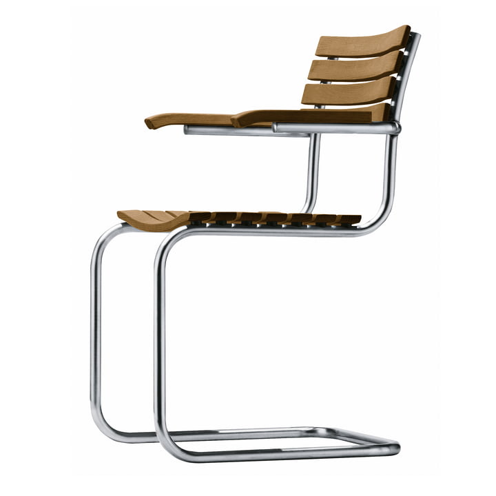 S 40 F Outdoor armchair, round stainless steel tube frame / seat and back Iroko oiled by Thonet