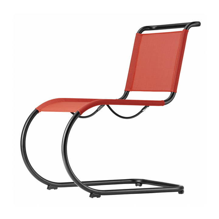 S 533 N Chair with frame in black (TS 9005) / fabric in cherry (All Seasons) by Thonet