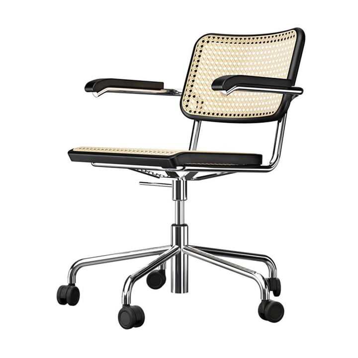 S 64 VDR Swivel chair, chrome / beech black stained (TP 29) / cane mesh with plastic support fabric by Thonet