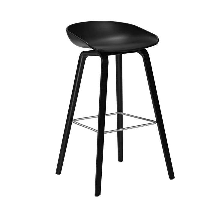 About A Stool AAS 32 H 75 cm from Hay in oak stained black / stainless steel / black
