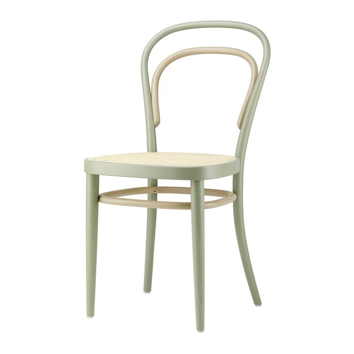 214 Bentwood chair, cane weave with plastic support fabric / beech Two-Tone sage by Thonet