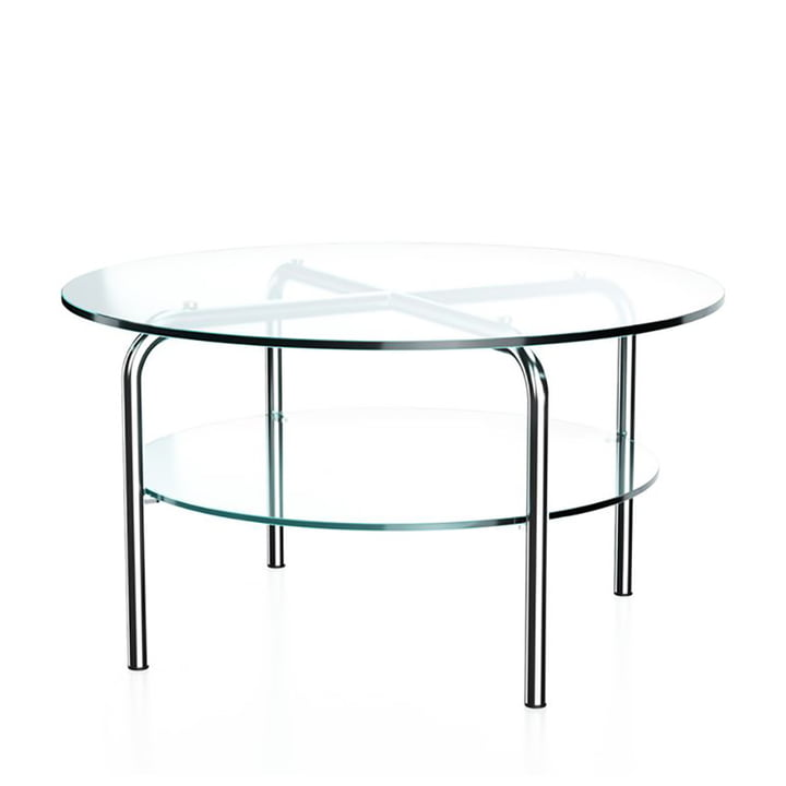 MR 516/1 Side table by Thonet, Ø 70 x H 38 cm, chrome-plated tubular steel and clear glass
