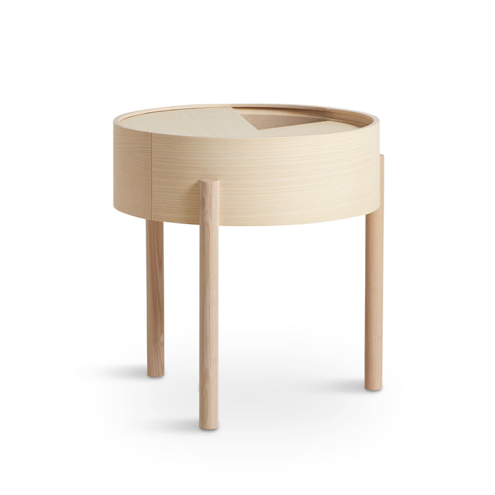 Arc side table Ø 42 cm H 45 cm from Woud in ash white pigmented