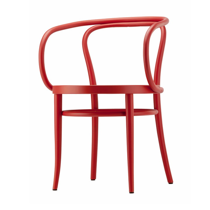 209 Bentwood chair from Thonet with wickerwork with plastic support fabric / beech stained rust-red (TP 239)
