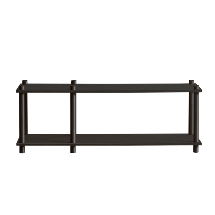 Elevate shelving system, System 1 by Woud in oak black lacquered