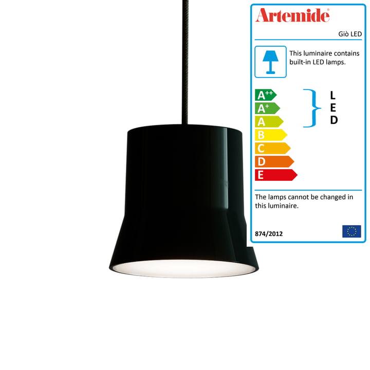 Giò LED pendant luminaire from Artemide in black