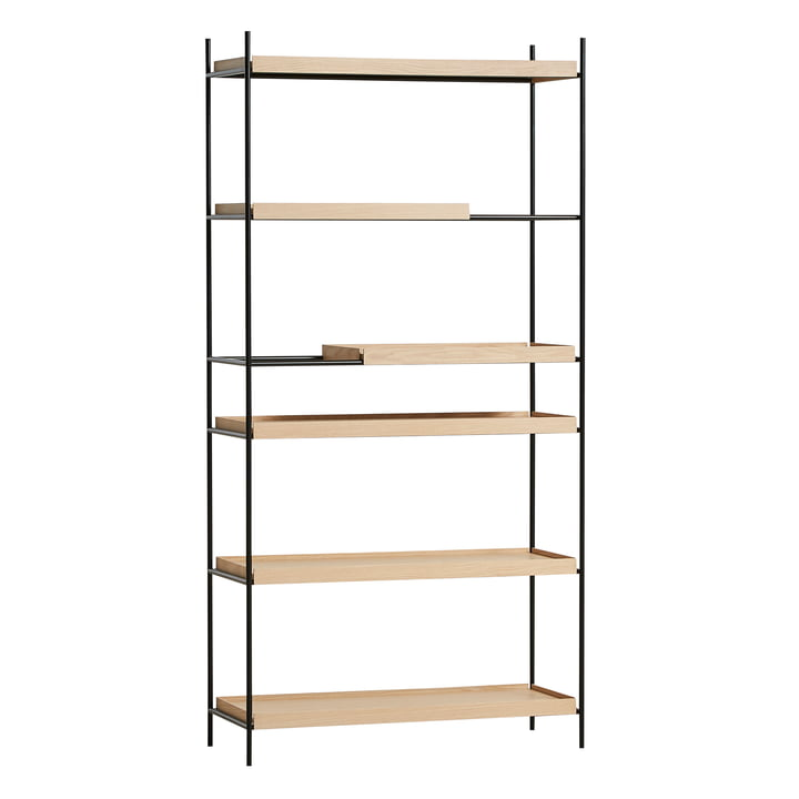 Tray Shelf high from Woud in oak nature / black