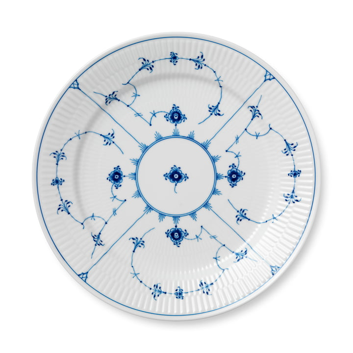 Musselmalet Ribbed plate flat Ø 27 cm from Royal Copenhagen