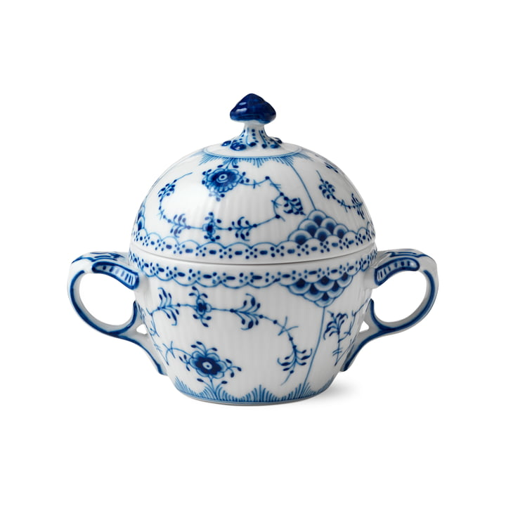 Musselmalet half-tip sugar bowl with lid 20 cl from Royal Copenhagen