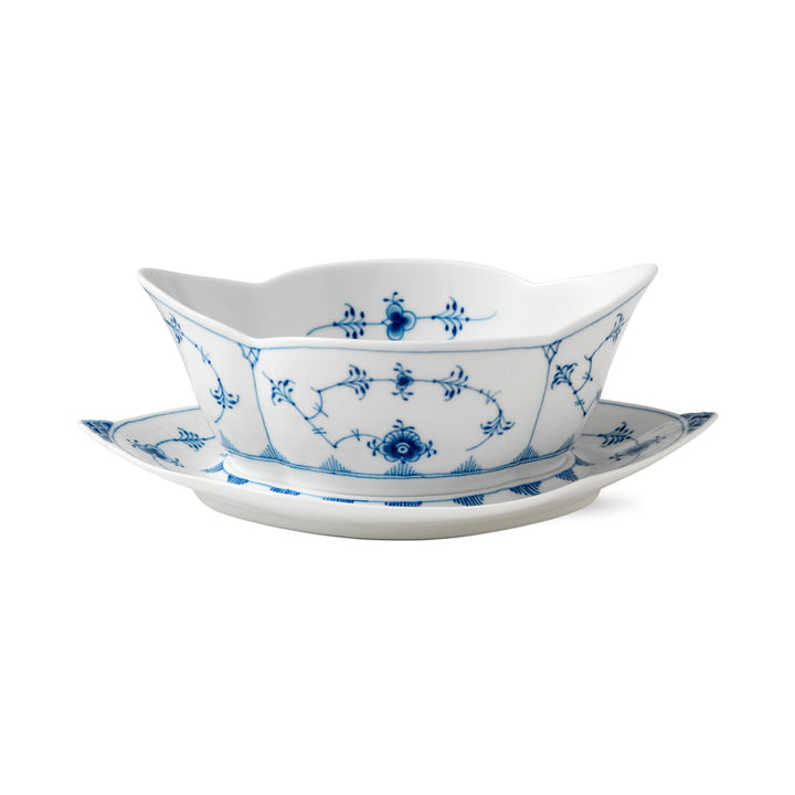 Musselmalet ribbed sauce boat with saucer 55 cl of Royal Copenhagen