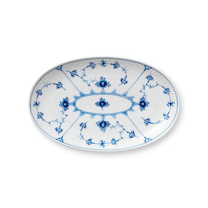 Musselmalet Ribbed serving dish oval 23 cm from Royal Copenhagen