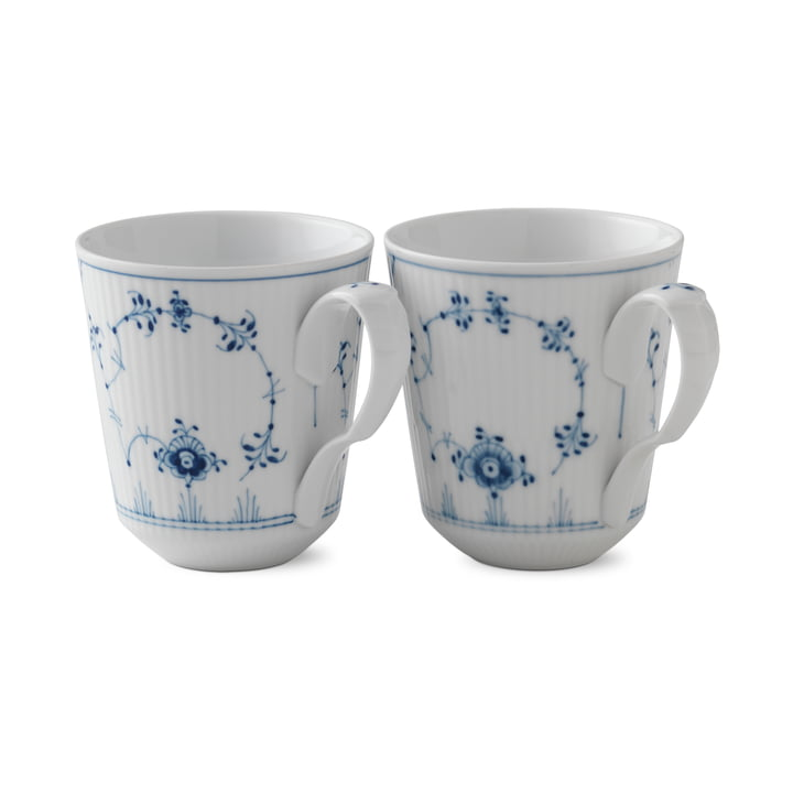 Musselmalet ribbed cup 37 cl in white / blue (set of 2) from Royal Copenhagen