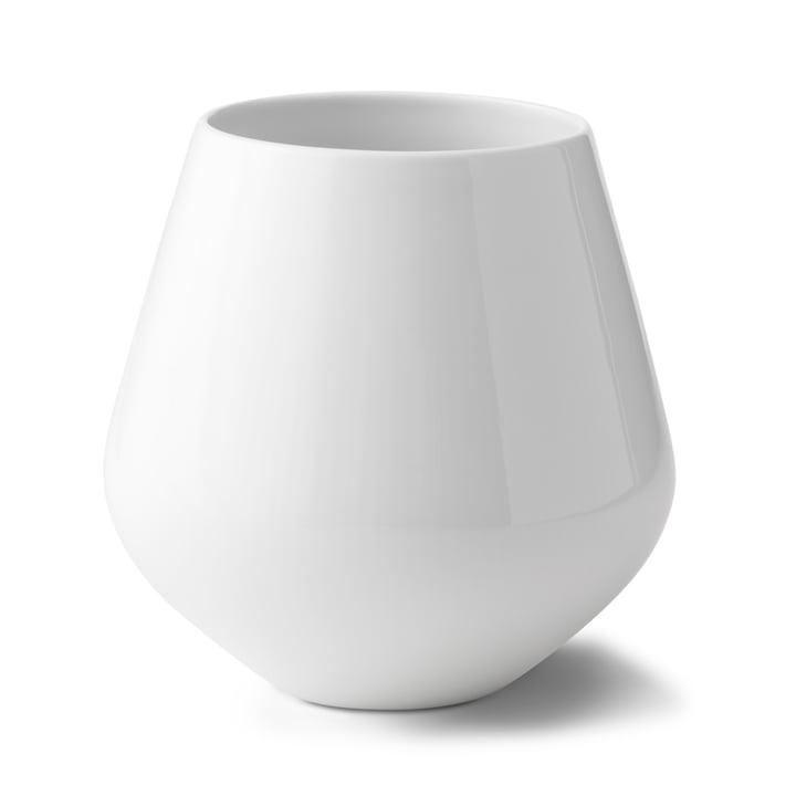 White Ribbed Vase large H 20,5 cm from Royal Copenhagen