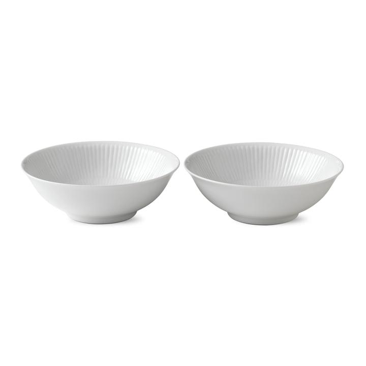 White ribbed bowl, 35 cl (set of 2) of Royal Copenhagen