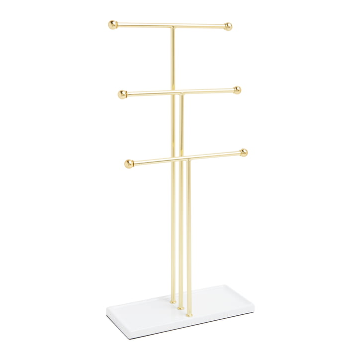 Trigem jewelry stand from Umbra in brass / white