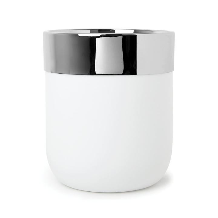 Junip waste bin in chrome / white from Umbra