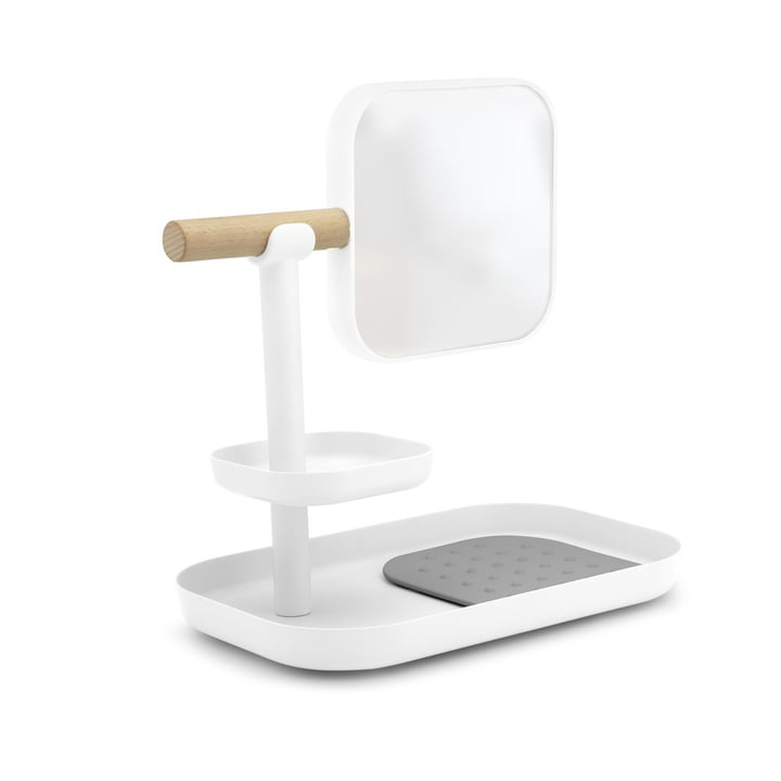 Vana make-up tray with mirror in beech / white from Umbra