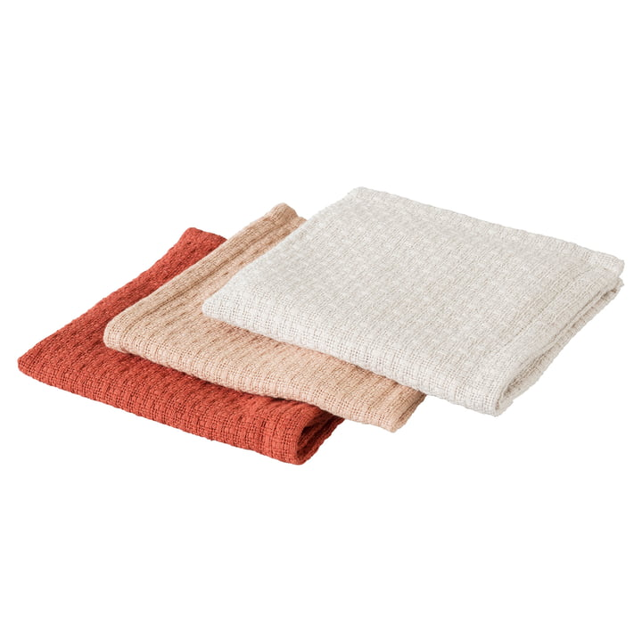 Everyday dishcloths in set of 3 by Rig-Tig by Stelton in grey / nude / teracotta