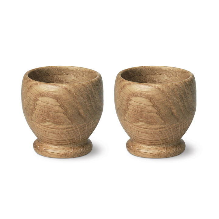 Menageri egg cup (set of 2) by Kay Bojesen in oak matt lacquered