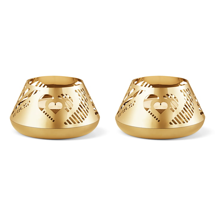 Christmas Collectibles Seasonal Classic Tealight Holder Hearts of Georg Jensen in gold (Set of 2)