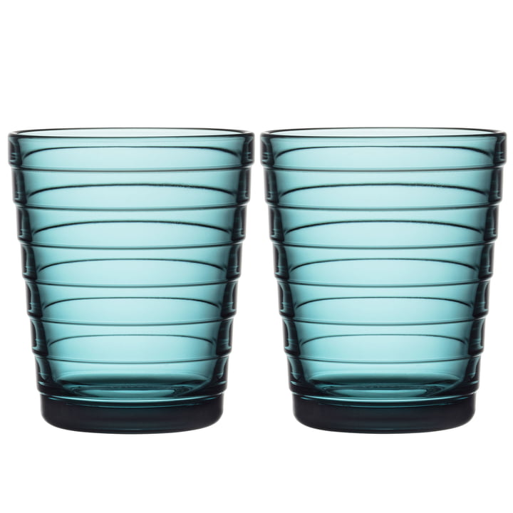 Aino Aalto Glass beaker 22 cl from Iittala in sea blue (set of 2)