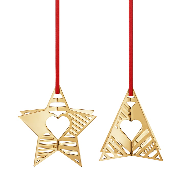Holiday Ornament 2019 Star & Tree, gold from Georg Jensen