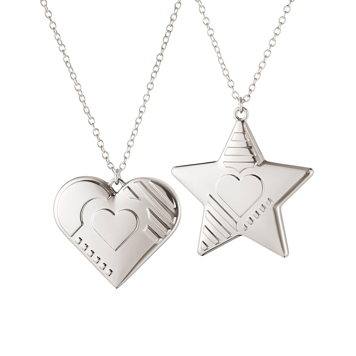 Ornament Pendant 2019 Heart & Star, palladium by Georg Jensen