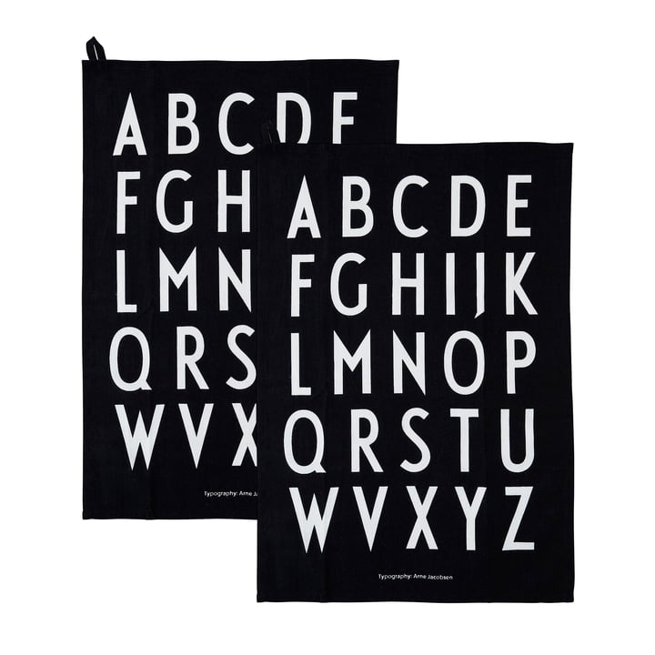 Classic tea towel in black (set of 2) by Design Letters