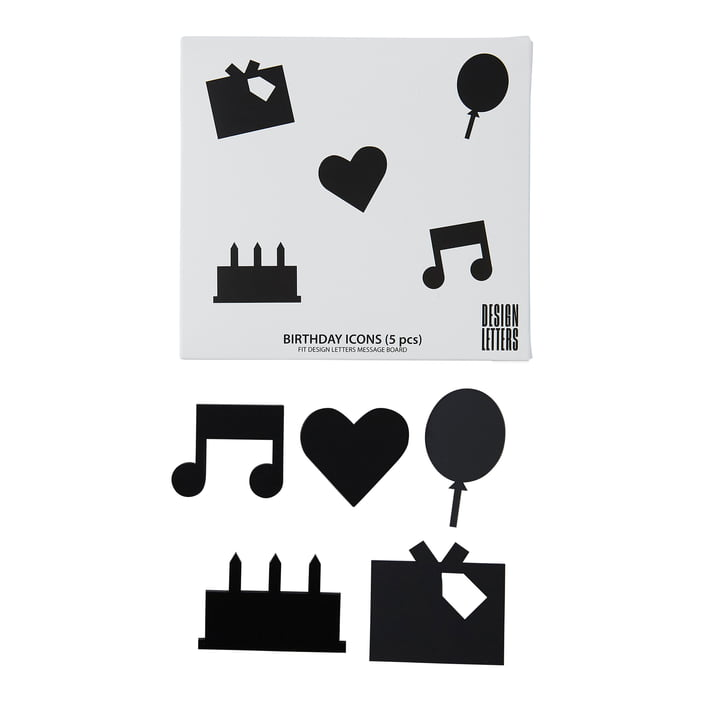 Organise with Icons , Happy Birthday in black by Design Letters