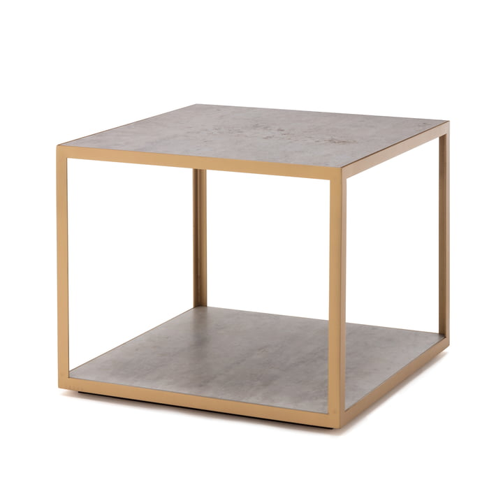 181 Side table 50 x 50 cm freestyle in ceramic concrete / steel pearl gold (RAL 1036)