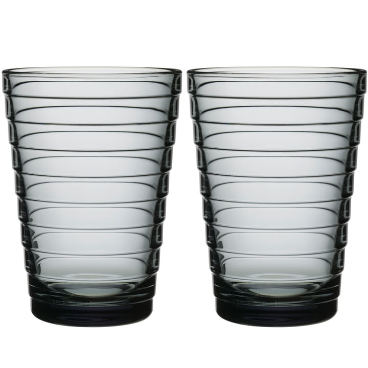 Aino Aalto long drink glass 33 cl from Iittala in grey (set of 2)