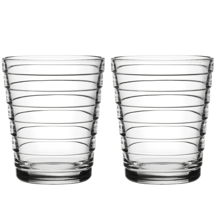 Aino Aalto Glass beaker 22 cl from Iittala in clear (set of 2)