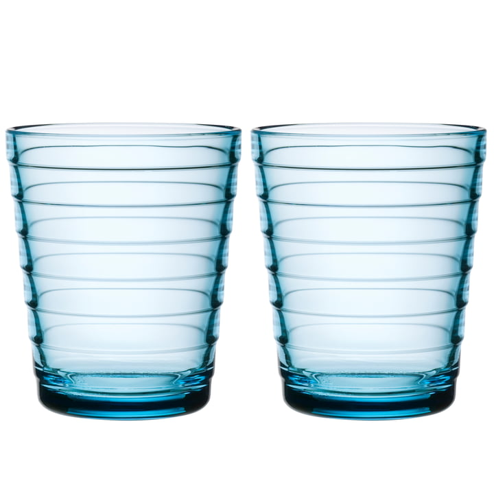 Aino Aalto glass cup 22 cl from Iittala in light blue (set of 2)