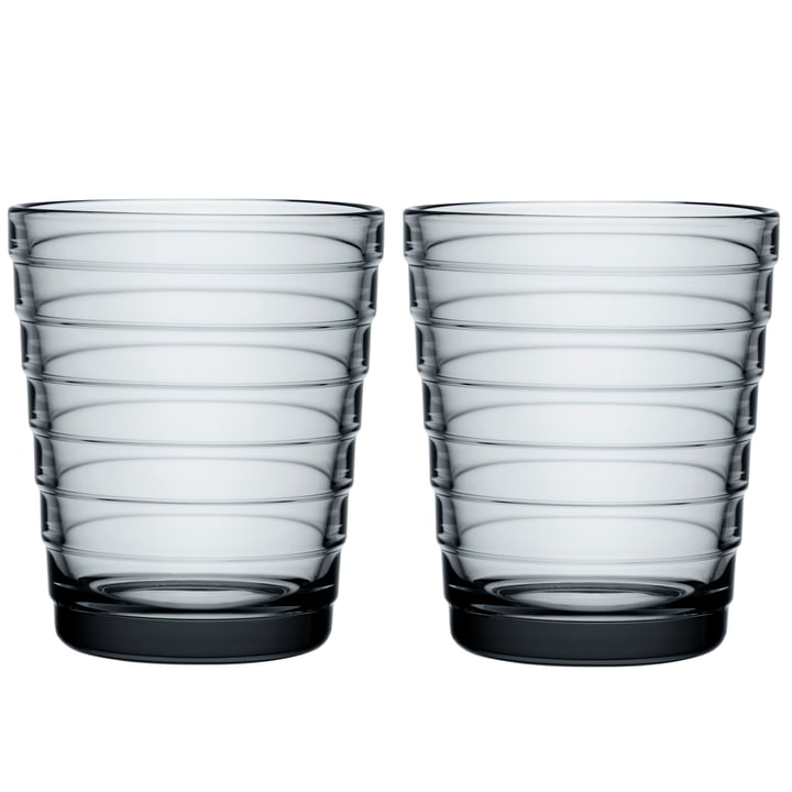 Aino Aalto Glass beaker 22 cl from Iittala in grey (set of 2)