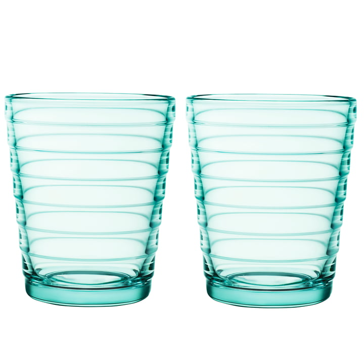 Aino Aalto glass cup 22 cl in water green (set of 2) by Iittala