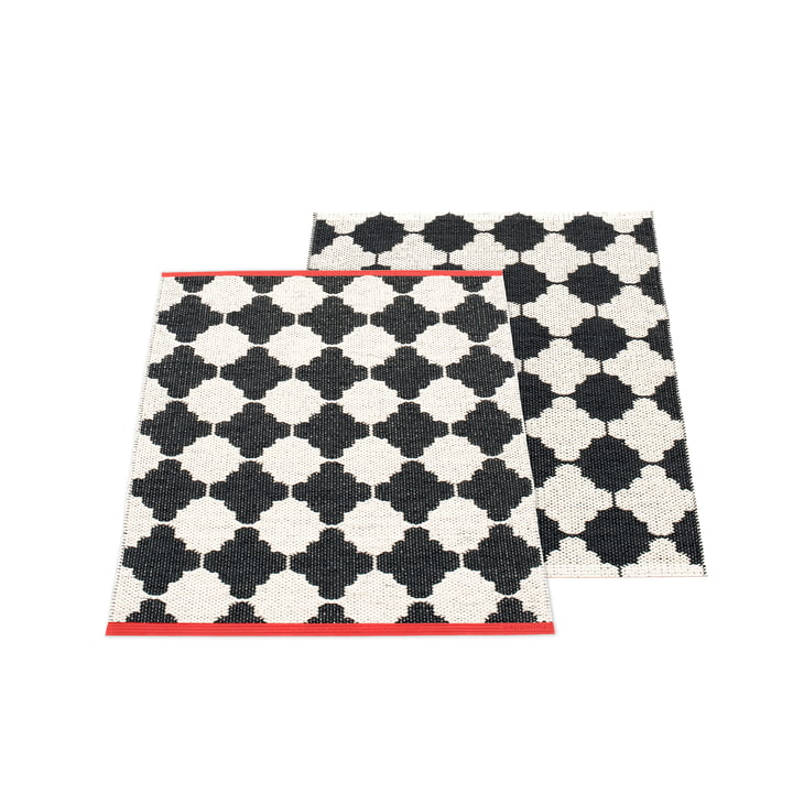 Marre reversible carpet, 70 x 90 cm in black / vanilla by Pappelina