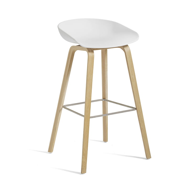 About A Stool AAS 32 H 75 cm from Hay in matt lacquered oak / stainless steel / white