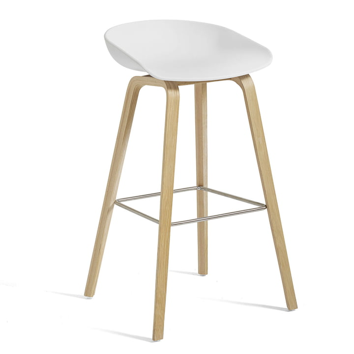 About A Stool AAS 32 H 85 cm from Hay in matt lacquered oak / stainless steel / white