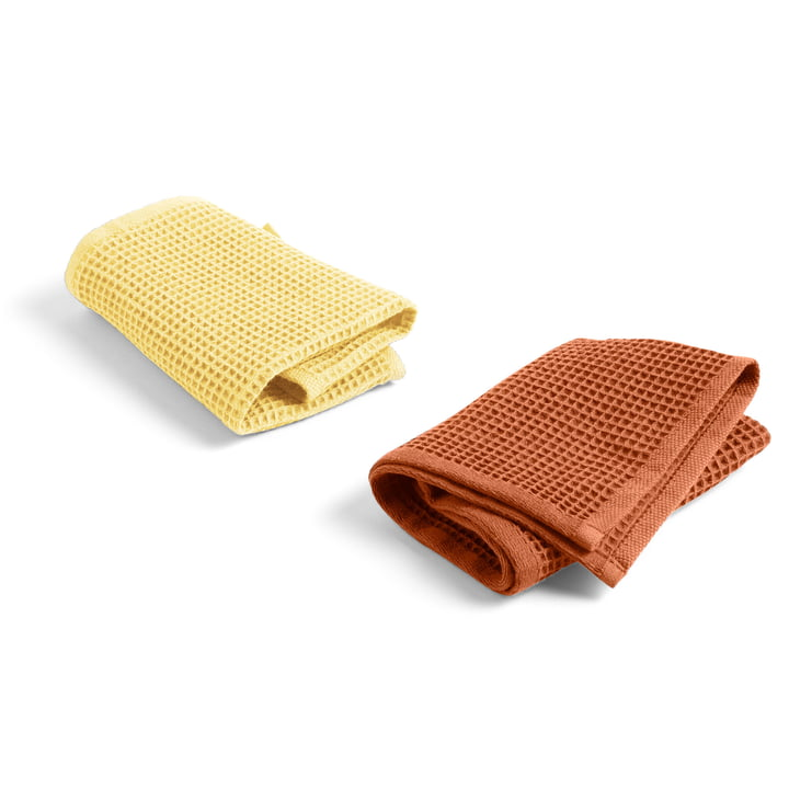 Waffle dishcloth 29,5 x 29,5 cm from Hay in terracotta / yellow (set of 2)