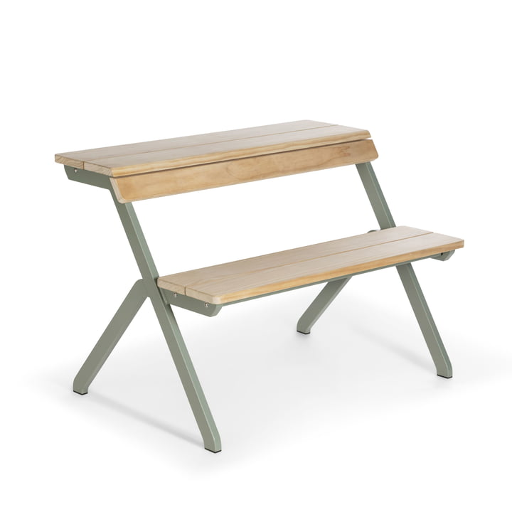 Tablebench garden table, 2-seater in cement grey by Weltevree