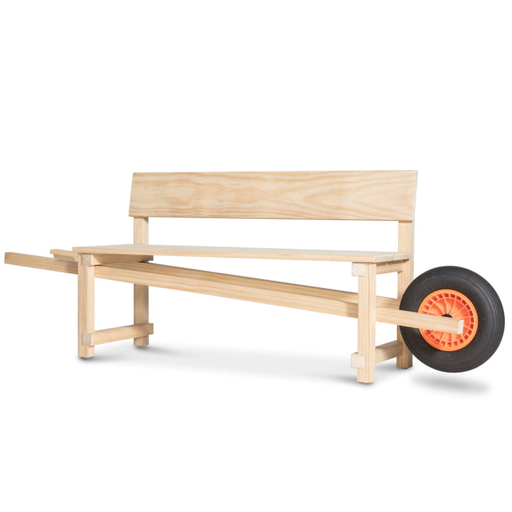 Wheelbench in natural oak by Weltevree