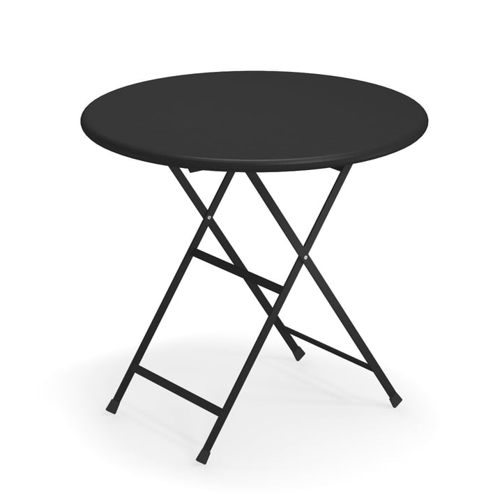 Arc en Ciel folding table, Ø 80 x H 74 cm in black by Emu