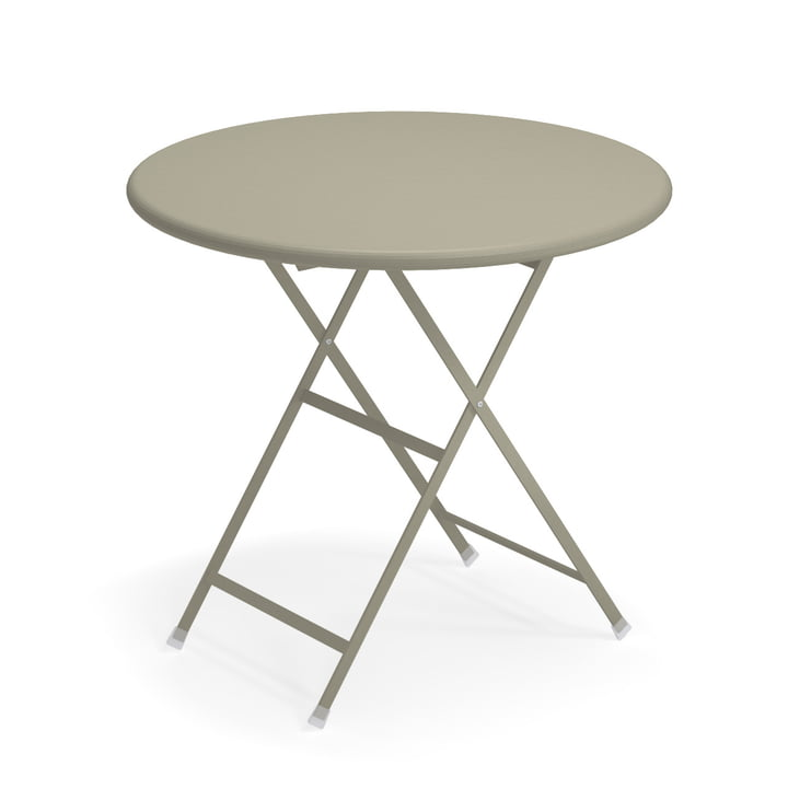 Arc en Ciel folding table, Ø 80 x H 74 cm in grey-green by Emu