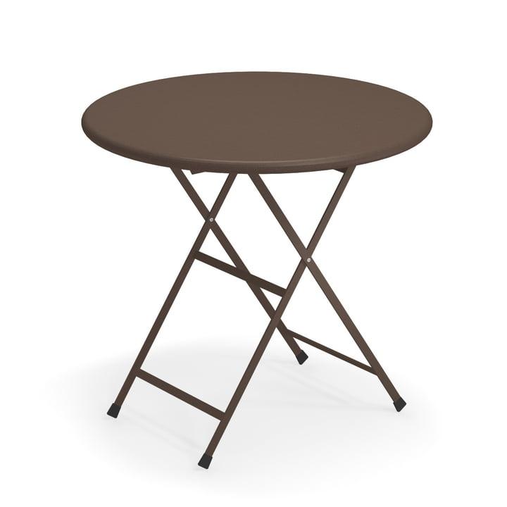 Arc en Ciel folding table, Ø 80 x H 74 cm in Indian brown by Emu
