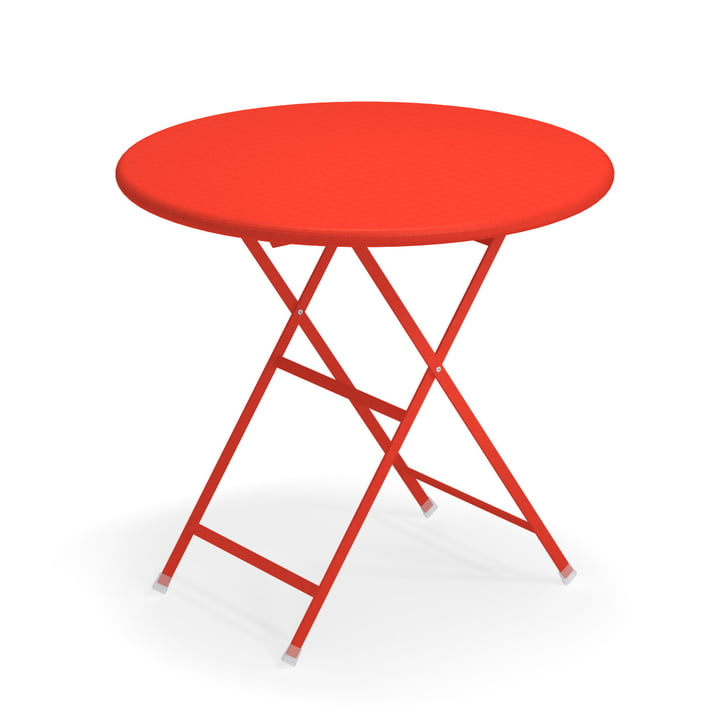 Arc en Ciel folding table, Ø 80 x H 74 cm in scarlet red by Emu
