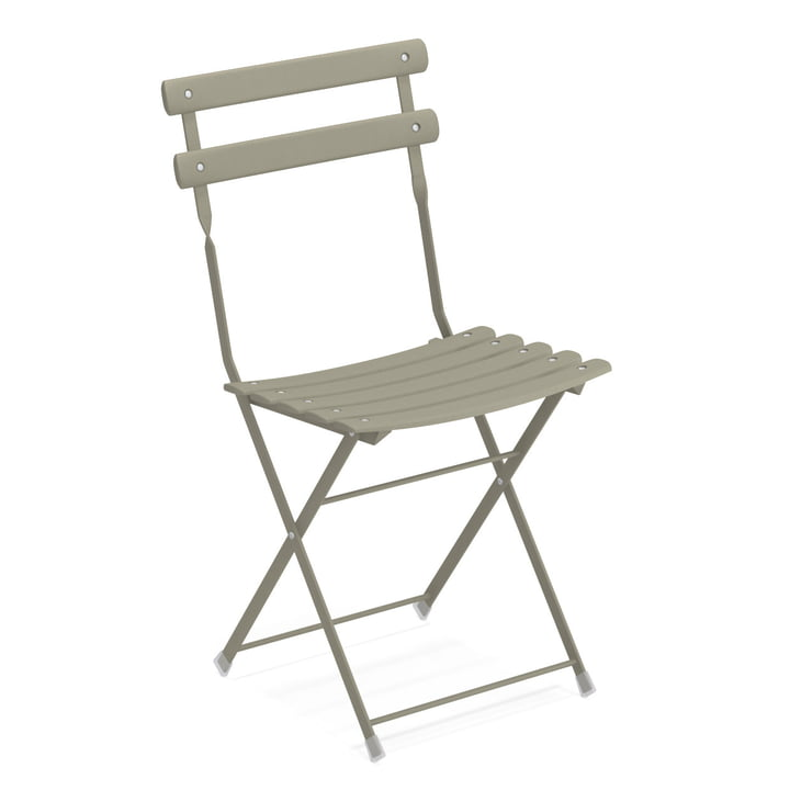 Arc en Ciel folding chair in grey-green by Emu