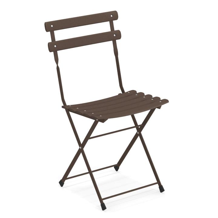 Arc en Ciel folding chair in Indian brown by Emu
