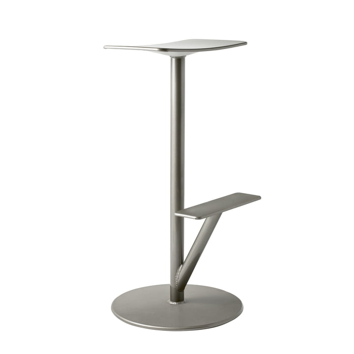 Sequoia bar stool H 66 cm in grey metallic by Magis