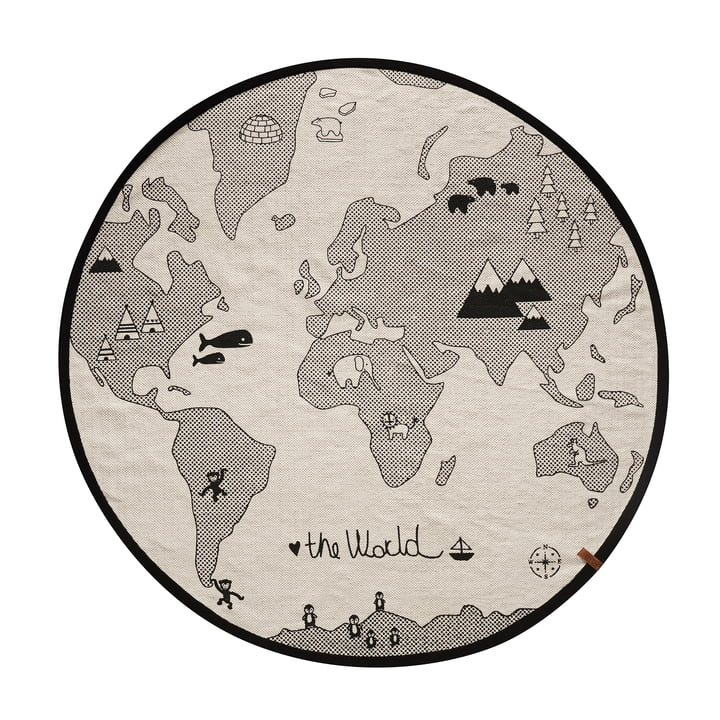 The World play carpet Ø 135 cm from OYOY in black / grey