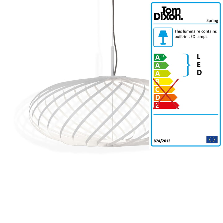 Spring pendant lamp small by Tom Dixon in white